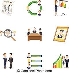 Manager icons set, cartoon style