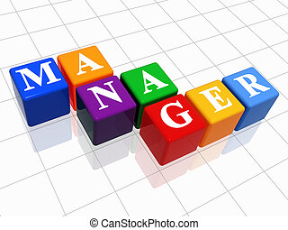 manager in colour 2 - 3d colour boxes with text - manager, ...
