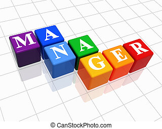 manager in colour - 3d colour boxes with text - manager, ...