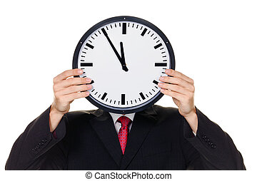 manager in stress with clock in front of head.
