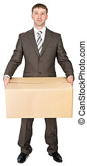 Manager in suit holding cardboard box