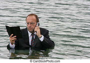 manager in the water
