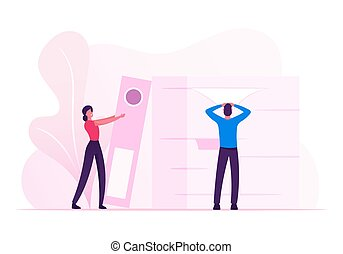 Manager Job Occupation, Deadline. Man and Woman with Huge Heap of Paper Documents. Business People Office Employees Work in Very Busy Day. Accounting Bureaucracy Cartoon Flat Vector Illustration