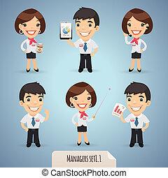manager, karikatur, charaktere, set1.1