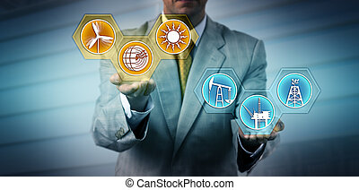 Unrecognizable manager raising renewable energy sector icons above fossil fuel symbols. Industry, business and technology metaphor for transition to alternative power generation, sustainability.
