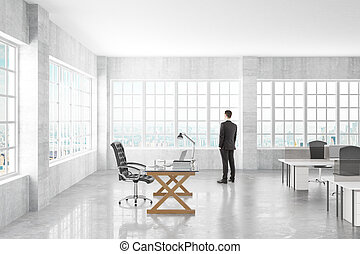 Manager looking to the window in a open space office, 3D Render
