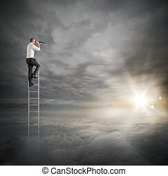 Manager looks for new business - Businessman on a ladder ...