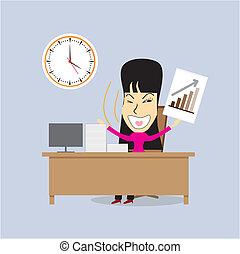 manager., mulher, vetorial, escritório, feliz