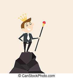Manager, Office Worker or businessman stand on the top of mountain and hold the scepter in his hand with the crown on his head. Concept of business success/accomplishment/achievement or leadership.