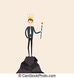Manager, office worker or businessman stand on the top of mountain and hold the scepter in his hand with the crown on his head. Concept of business success or leadership.