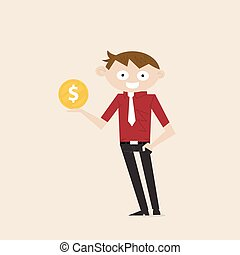 Manager, Office Worker or businessman with the golden coins on his hand. Concept of business success/accomplishment or achievement.