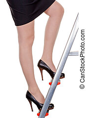 manager on career ladder - a woman climbs the management...