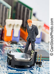 manager on computer circuit board