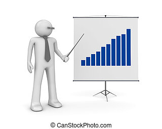 Manager on presentation - 3d isolated characters on white...