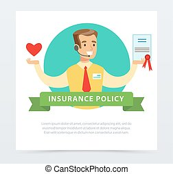 Manager or agent with a contract, insurance services concept insurance policy banner flat vector element for website or mobile app