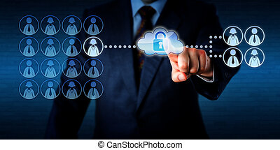 Manager outsourcing the work task of a single female employee via the cloud to a group of four freelancers, two workers of each gender. He is touching a virtual cloud containing a secured padlock.