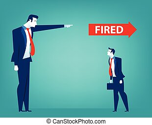Manager pointing fired at businessman. Losing a job. Unemployed people. Concept business illustration. Vector flat