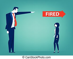 Manager pointing fired at businessman