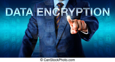 White collar worker is pushing, the word DATA ENCRYPTION onscreen. Technology metaphor and business background for processes of encoding information for use by authorized recipients only.