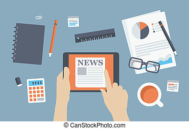 Manager reading news flat illustration - Flat design style...