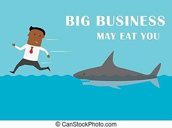 Manager running away from big business shark