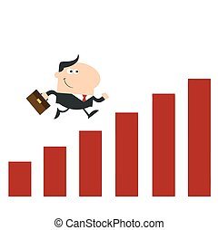 Manager Running Over Growth Bar Graph. Flat Style
