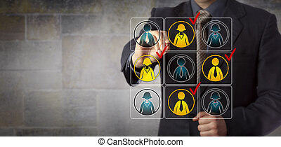 Manager Selecting Team Workers Via Check Mark
