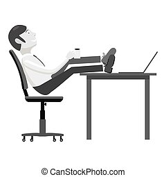 Manager sits on chair and feet on table icon