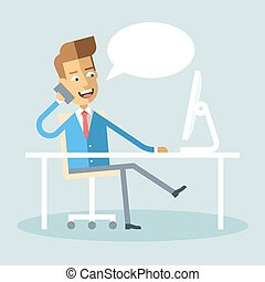 Manager sitting legs crossed at desk talking phone