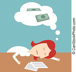Manager sleeping in office, dreaming of money