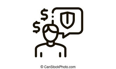 manager talk pay insurance Icon Animation. black manager talk pay insurance animated icon on white background