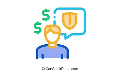 manager talk pay insurance Icon Animation. color manager talk pay insurance animated icon on white background