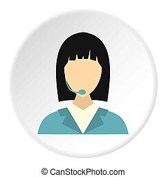 Manager taxi icon, flat style