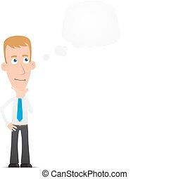 Manager thinks - Illustration of a cartoon cute character...