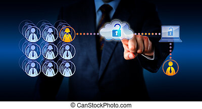 Hand of a manager unlocking cloud network access to connect with a male zero-hours contractor. This remote freelance worker is aiding a female permanent employee with a task via a secure connection.