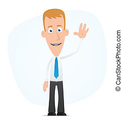 Manager welcomes - Illustration of a cartoon cute character...