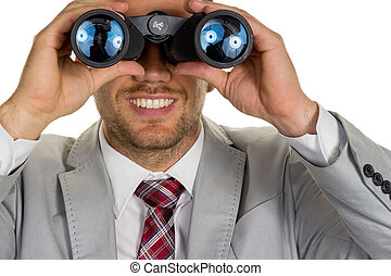 manager with binoculars - a manager with binoculars in...