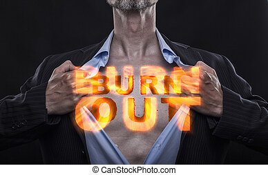 Manager with Burn Out Sign - Overworked accountant tears off...