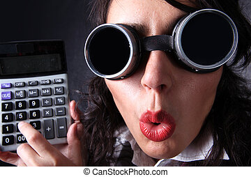manager with calculator