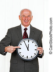 manager with clock 11:55