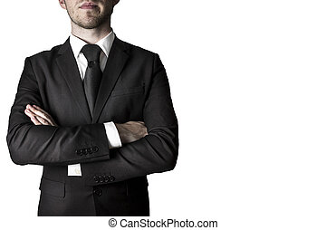 Manager with crossed arms - manager in black suite with...