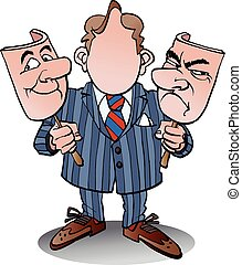 Manager with two face masks - Vector cartoon illustration of...