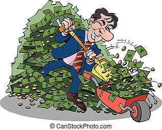 Manager with very easy money - Vector cartoon illustration...