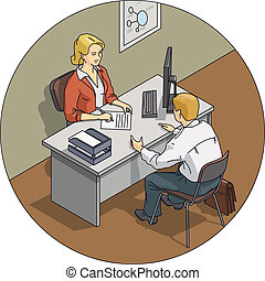 Manager woman talk with customer. Eps10 vector illustration...