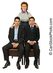 Manager woman with businessmen