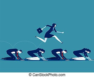 Manager work on the hardship of other. Concept business vector illustration.