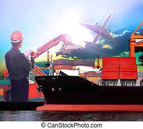 manager working in ship port and air plane cargo logistic use as