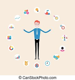 Manager,office worker or businessman making a presentation at office. Business executive delivering a presentation to his colleagues during meeting or in-house business training, explaining new business concept and strategy.Businessman juggling business icons