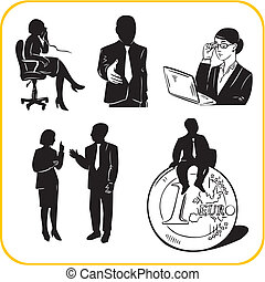 Managers and office. Vector set.