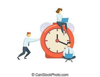 Managers around big alarm clock. Business, office time concept. Flat vector illustration. Isolated on white background.